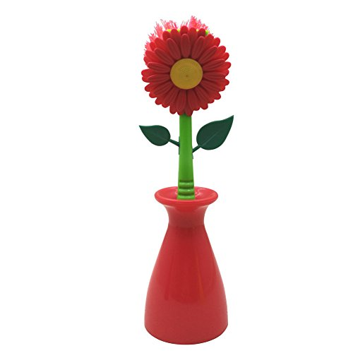 Sunflower Kitchen Brush Cleaning Tool Multi-funtion Dish Washing Brush Kitchen Bathroom Gadgets Tool (red)