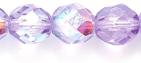 Preciosa Czech Fire 8mm Polished Glass Bead, Faceted Round, Amethyst Coating Aurora Borealis, 60-Pack