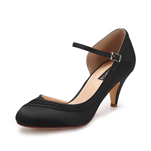 ERIJUNOR E2699 Kitten Heels for Women Comfortable Low Heel Closed Toe Satin Evening Dress Wedding Shoes with Ankle Strap Black Size 8