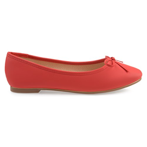 Bow Detail Leather - Brinley Co Womens Corky Bow Detail Wide Width Ballet Flats Red, 8.5 Regular US