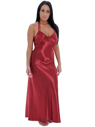 Sexy Long Red Satin Charmeuse Plus Size Night Gown