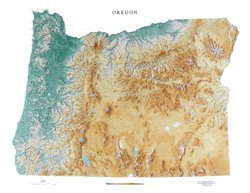 Oregon Topographic Wall Map by Raven Maps, Laminated Print (Oregon Wall Map)