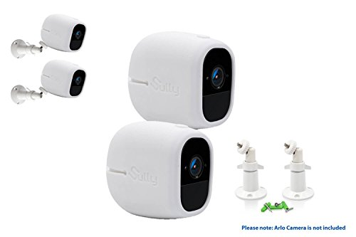 Accessories Kit for Arlo Pro and Pro2 Camera w/ (2pcs White) Arlo Pro & Pro2 Skins and (2pcs) 10cm Arlo Camera Mount White Arlo Netgear Security Wireless Covers Case Outdoors Wall by Sully