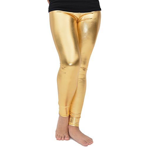 Stretch is Comfort Girl's Cotton Footless Leggings Metallic Gold -