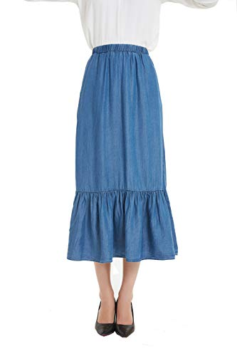 Tronjori Womens Tencel Denim Long Midi Skirt Pleated Hem(XXL,Light Blue)