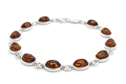 925 Sterling Silver Oval Link Bracelet for Women with Genuine Natural Baltic Cognac Amber.