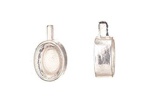 Pendant Settings Mounts - Pendant, Silver Plated Ajustable Oval Cabochon Setting 29x16mm with 18x14mm Mount