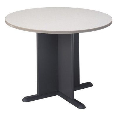 Pewter Colored Diamond Coat Round Conference Table by Bush Industries
