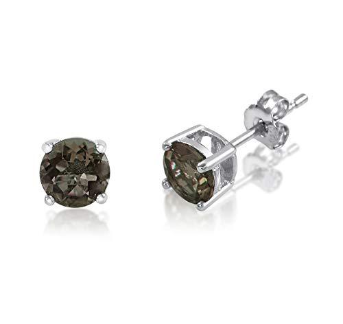 (honjejewelry Stud Earrings Genuine Birthstone Sterling Silver 925 Basket Set 5mm Gemstones for Women 1 Pair (Smokey Quartz))
