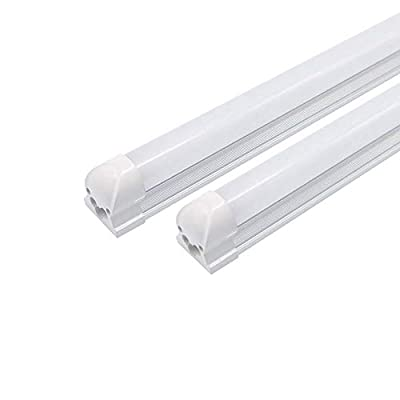T8 LED Shop Light Tube Linkable Integrated Single Fixture,5ft, 24W (72W Equivalent), 6500K(Cool White Glow), Single-Ended Power, Frosted Cover(25 Pack)