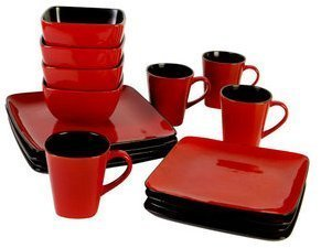 Hometrends Rave 16-piece Square Dinnerware Set, Red