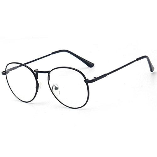 D.King Clear Lens Eyeglasses Metal Frame Retro Vintage Fashion Unisex Glasses Black (Unisex Frames Optical)