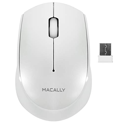 Macally RF Wireless Mouse for Laptop Windows PC/Apple Mac/Desktop Computer | 2.4G USB Receiver | Small Compact Design for Easy Travel | Optical Sensor 1200 DPI (White) ()