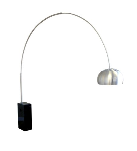 Arco Black Cube-Shaped Marble Base Floor Lamp - Arco Light Stand ...