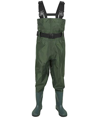 (LANGXUN Hip Waders for Kids, Lightweight and Breathable PVC Fishing Waders for Children, Waterproof Bootfoot Waders for Boy and Girl, Army Green Chest Waders for Women (12T))