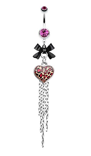 Leopard Heart Bow-Tie Belly Button Ring - 14 GA (1.6mm) - Fuchsia - Sold Individually
