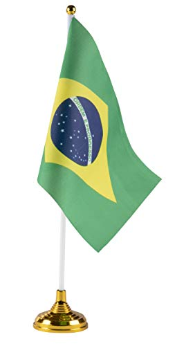 Juvale Brazilian Desk Flags - 24-Piece Desktop Flags with Stick and Gold Stand, Brazil Flag Table Decoration, 8.5 x 5.5 Inches