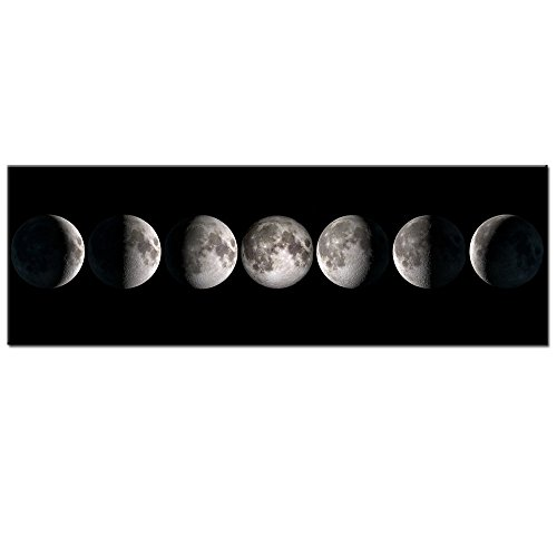 Brilliant Giclee Canvas Print - Sea Charm - Modern Giclee Canvas Prints Stretched Artwork Phases of Moon Black and White Pictures to Photo Paintings on Canvas Wall Art for Home Office Decorations 16