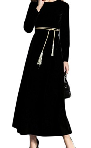 Confortables Femmes Grand Ourlet Longues Robes De Soirée En Velours Or Massif Manches Noir