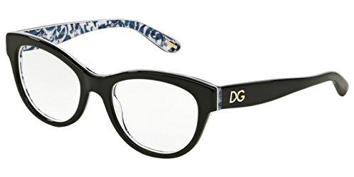 Dolce & Gabbana Montures de lunettes 3203 Peach Flowers Pour Femme Black / Black / Peach Flowers, 51mm 2994: Black / Maioliche Portoghesi