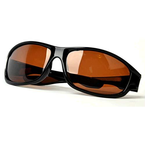 GAMT Polarized Sports Sunglasses for Women Men Ride Night Vision Driving Anti-Glare Eyewear Light Black Frame Browm Lens