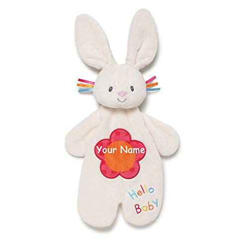 GUND Personalized Flora The Bunny Rabbit Activity Puppet Plush Stuffed Animal Lovey Blanket for Baby with Custom Name - 11.5 Inches ()