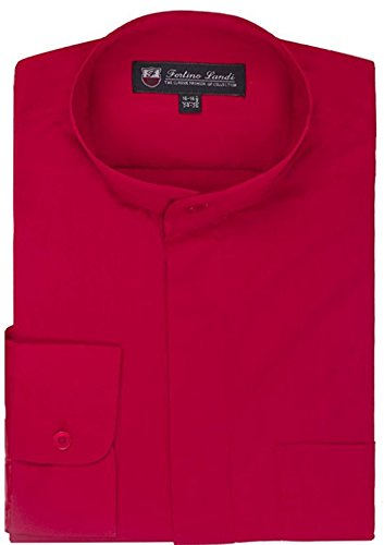 Fortino Landi Men's Cotton Blend Banded Collar Dress Shirt SG15-Red-20-20 1/2 -36-37