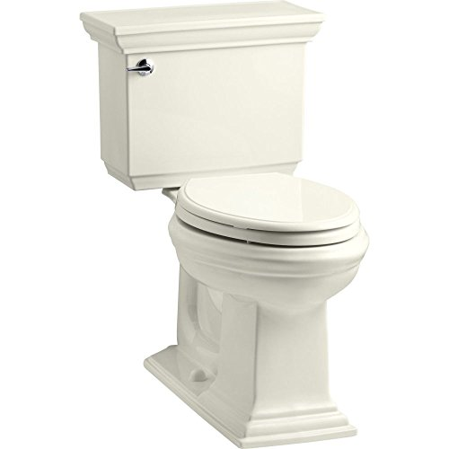 KOHLER K-3819-96 Memoirs Comfort Height Two-Piece Elongated 1.6 gpf Toilet with Stately Design, (Kohler Memoirs Biscuit)