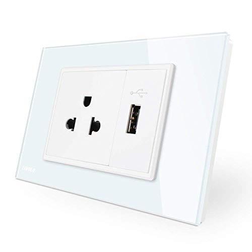 LIVOLO White AU/US Standard,US Socket&1 Gang USB Socket,110-220V,CE Certified,119mm78mm,-C9C1US1U-11