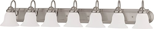 (Nuvo Lighting 60/3283 Seven Light Vanity, 7, Brushed Nickel/Frosted Glass)