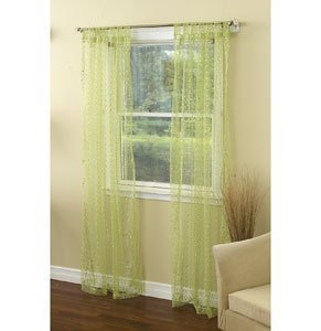 - 1888 Mills Groovy Single Tab Top Panel Sheer with Sequins, 50-Inch by 63-Inch, Lime