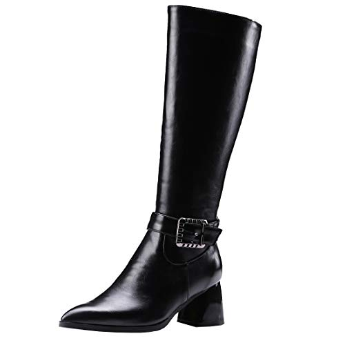 Artfaerie Women's Block Heel Knee High Boots Pointed Toe Jodhpur Horse Riding Boots Buckle Black