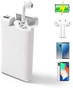 ATETION Power Bank 2 en 1 10000mAh Cargador portátil USB Tipo C Batería Externa con Estuche de Carga Compatible para iPhone AirPods Samsung Galaxy HTC Teléfono Tablet, Blanco: Amazon.es: Electrónica