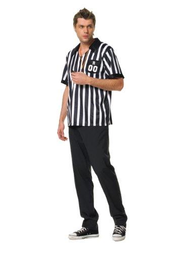 Leg Avenue Men's 2 Piece Referee Costume, Black/White, (Soccer Ref Halloween Costumes)