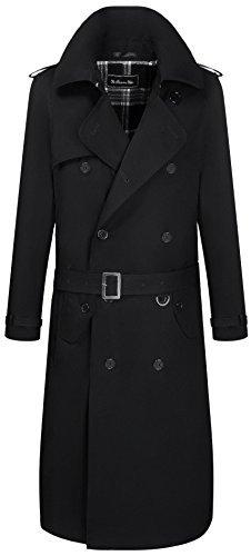 Herren Military Regenmantel Schwarz Baumwolle Traditional Mac Zweireiher Trenchcoat Langer m80vwPyNnO
