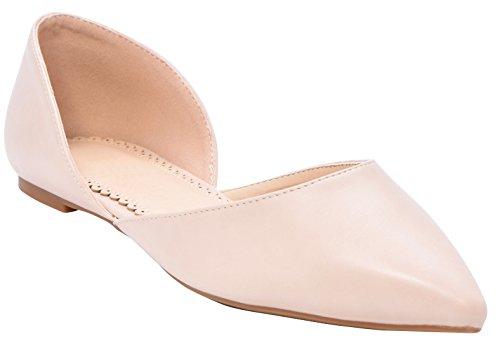 Cambridge Select Womens Closed Pointed Toe DOrsay Slip-On Ballet Flat Natural Pu vd2Ap1