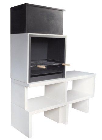 Barbacoa de Obra máximo diseño y calidad,De hormigón bruto hidrófugo blanco y negro 155