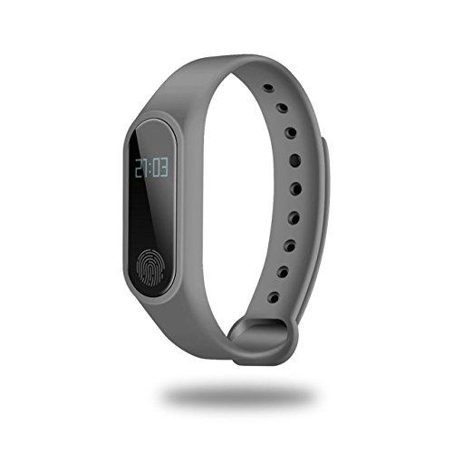 0,42 Zoll OLED-Display Smartband Pulsmesser Zeitanzeige Schlafmonitor Gesundheitswesen Smartband für iOS (schwarz) Jasnyfall