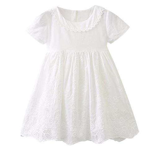 iLOOSKR Toddler Baby Girls Clothes Solid Lace Hollow Party Wedding Princess Dress 2-7 Yrs White -