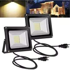 DIHAO 2pcs 30W LED Flood Light Cool White with US Plug 110V - Pc Chip 8 2100