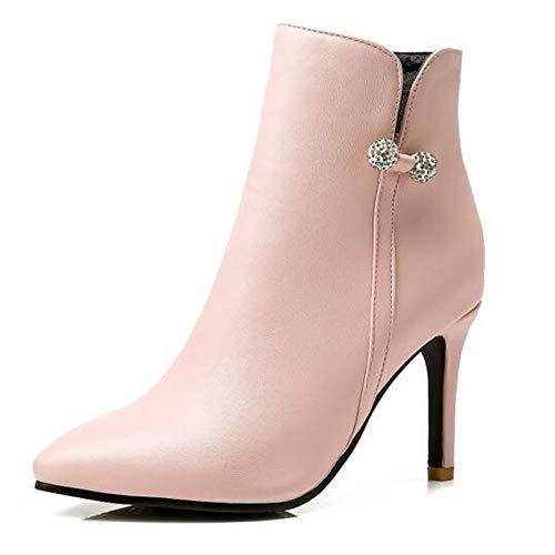 IWxez Damenmode Stiefel PU (Polyurethan) Winterstiefel Stiletto Absatz geschlossene Zehenstiefeletten Stiefeletten Schwarz Gelb   Rosa
