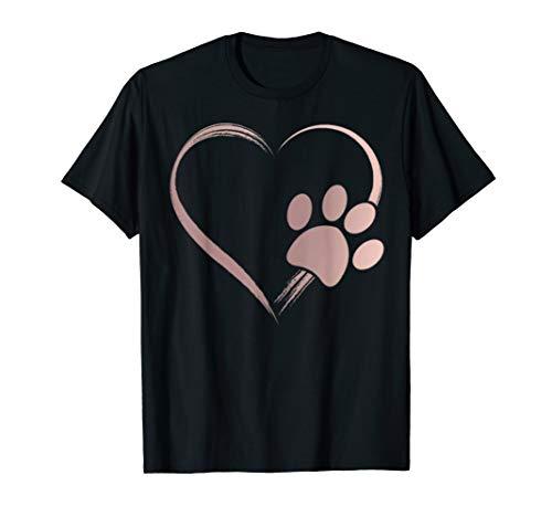 Rose Gold Dog Paw Print Heart T-Shirt -Gift for Girls & Guys]()