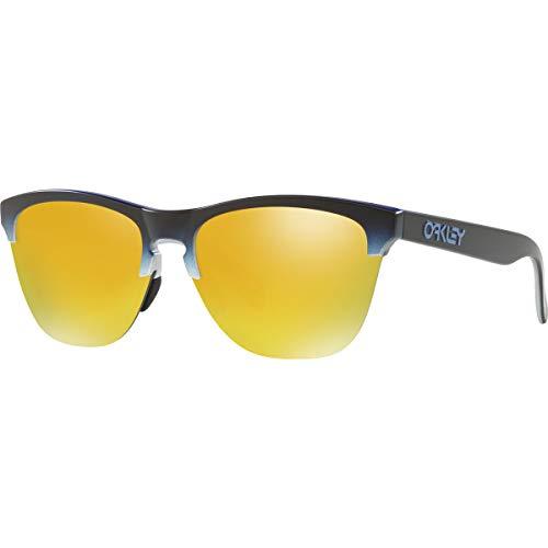 Oakley Men's OO9374 Frogskins Lite Round Sunglasses, Blue Black Fade Silver/24K Iridium, 63 mm (Oakleys Frogskin)