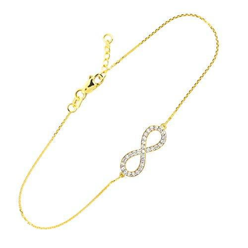 14 ct 585/1000 Or Infinite-Libre Oxyde de Zirconium-Pendentifs Bracelet