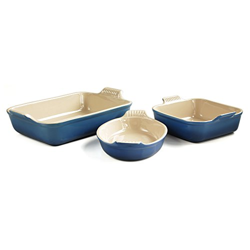 Le Creuset Heritage Marseille Blue Stoneware 3 Piece Bakeware Set by Le Creuset