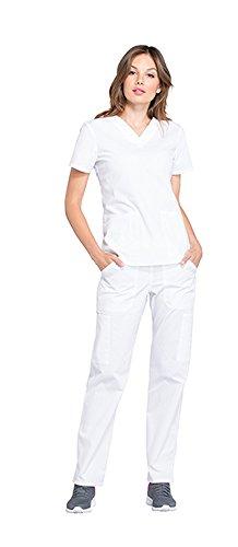 Cherokee Workwear Professionals Women's V-Neck Top WW665 & Women's Pull-On Cargo Pant WW170 Scrub Set (White - Medium/Medium)
