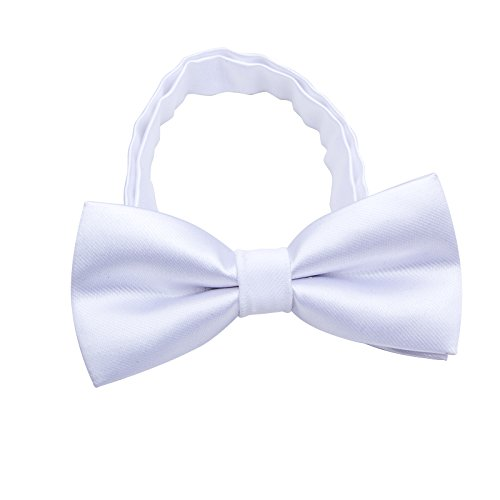 (Silk Bow ties for Kids Boys - Adjustable Pre Tied Bowties for Toddler Baby (White))