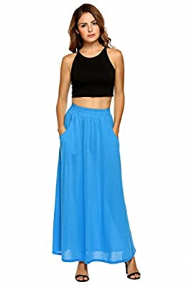 Zeagoo Women's High Waist Shirring Maxi Skirts with Pockets Rayon Spandex Long Skirt