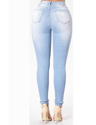 Vaqueros Primavera para Color Street Flacos Chic sólido YFLTZ otoño Mujer Pantalones Verano Light Blue nBwzXg4