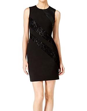 Women's Petite Sheath Lace Dress Black 2P